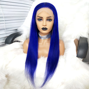 Preferred Human Blue Hair Wig Hair Straight Hair Wig Lace Front Wigs for women