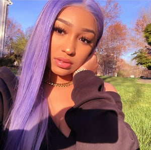 Elegant Light Purple Remy Human Hair Wig with Lace Front