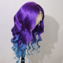 Load image into Gallery viewer, Preferred Human Purple Ombre Blue Lace Front Wigs Body Wave Long Remy Hair for Women