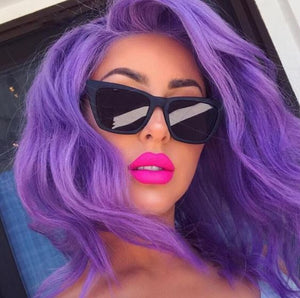 Purple Human Hair Lace Front Wig with Body Wave and Baby Hair