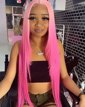 Load image into Gallery viewer, Preferred Human Pink Ombre Rose Pink Lace Front Wigs Long Straight Remy Hair for Women