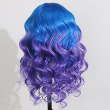 Load image into Gallery viewer, Preferred Human Blue Ombre Purple Lace Front Wigs Body Wave Long Remy Hair for Women