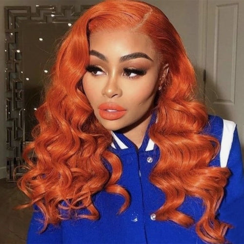 Curly Orange Human Hair Full Lace Wig for Women