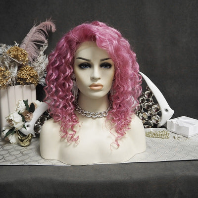 Curly Purple Human Hair Wig P095-1