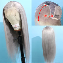 Load image into Gallery viewer, Long Gray Remy Human Hair Lace Front Wig for Women