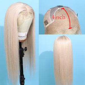 Preferred Human Light Gray Lace Front Wigs Long Straight Remy Hair for Women