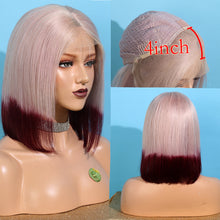 Load image into Gallery viewer, Short Gray Ombre Red Remy Human Hair Lace Front Bob Wig