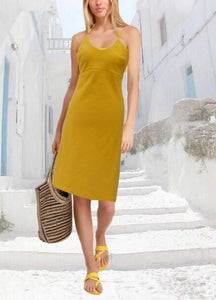 strapless  linnen jurk, strapless linen summer dress