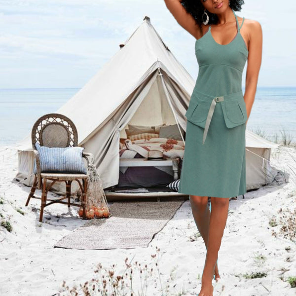 Strapless  linnen zomer jurk met losse heupriem, Strapless linen summer dress with separate belt