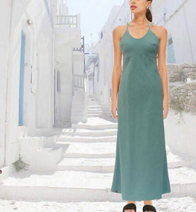 Strapless  linnen maxi jurk, Strapless linen summer dress