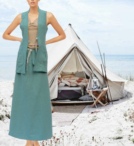 Maxi rok van gewassen linnen,  maxi skirt made of washed linen