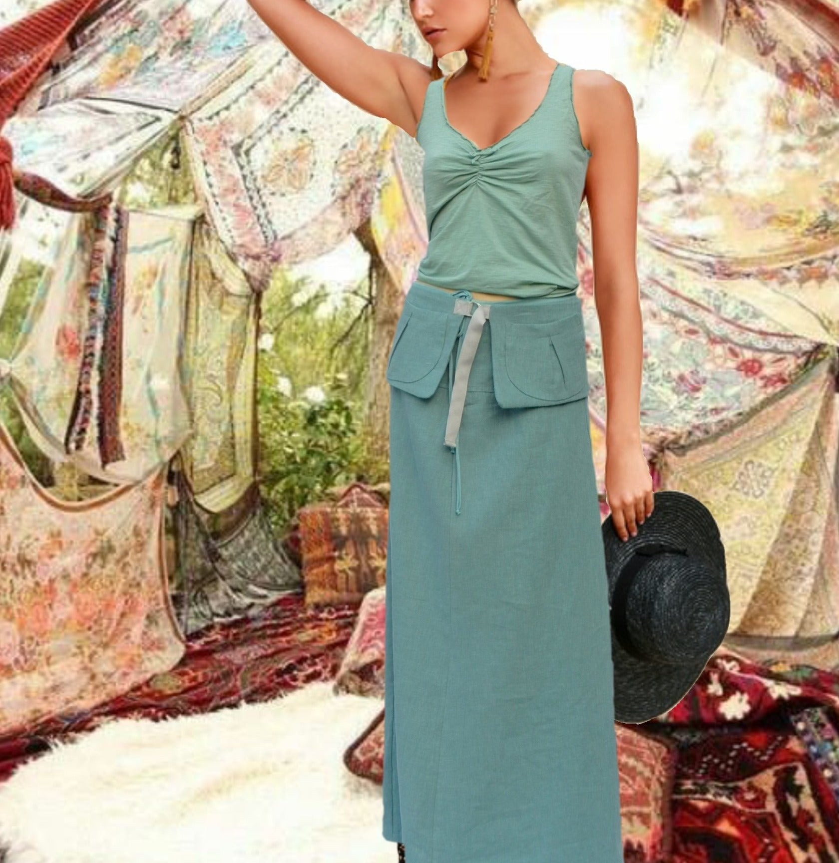 maxi rok van gewassen linnen met losse heupriem,  maxi skirt made of washed linen with separate belt