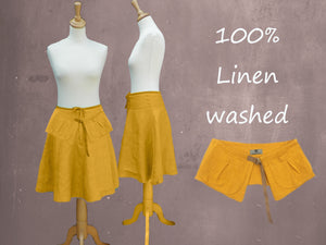 klokrokje van gewassen linnen met losse heupriem,  billowing skirt made of washed linen with separate belt