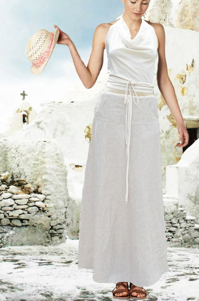 maxi rok in zomerlinnen / maxi  skirt in summer linen