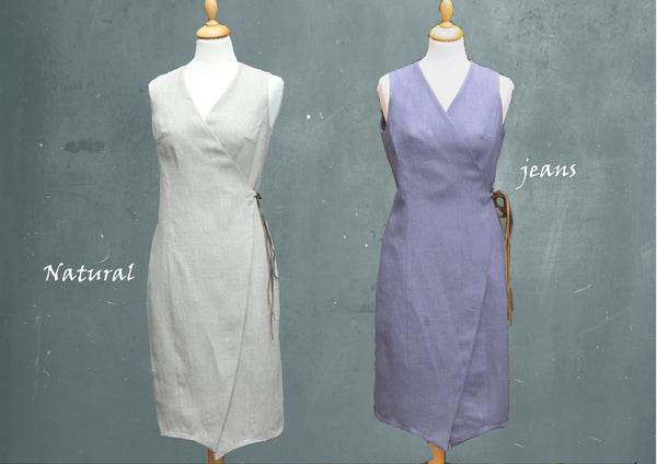 overslag jurkje van biologische linnen / linen wrap dress made of organic linen
