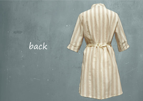 blouse-jurk in linnen streep/ striped linen shirt-dress