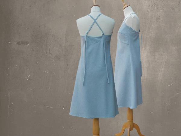 Sun dress gemaakt van recycled denim / summer dress made of recycled denim