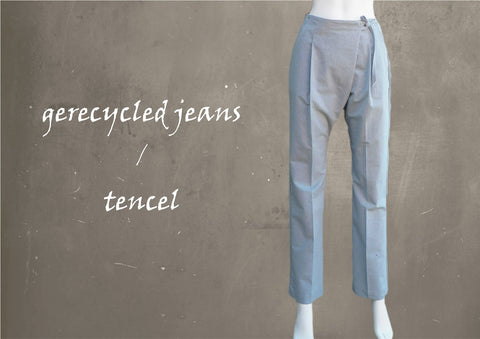 Wrap broek van recycled denim/tencel /  wrap pants recycled denim/tencel,