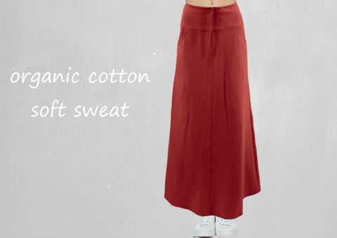 Trending maxi rok van soft sweat bio katoen /Trending maxi skirt made of soft sweat organic cotton