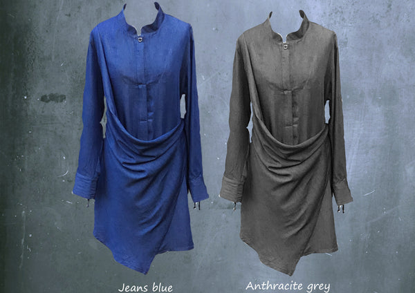 Tencel drape tuniek-jurk  / tencel drape tunic dress