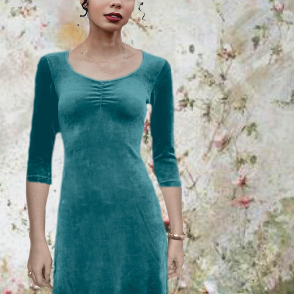 velours A lijn jurkje in organic cotton velours / velvet A- line dress in organic cotton velours