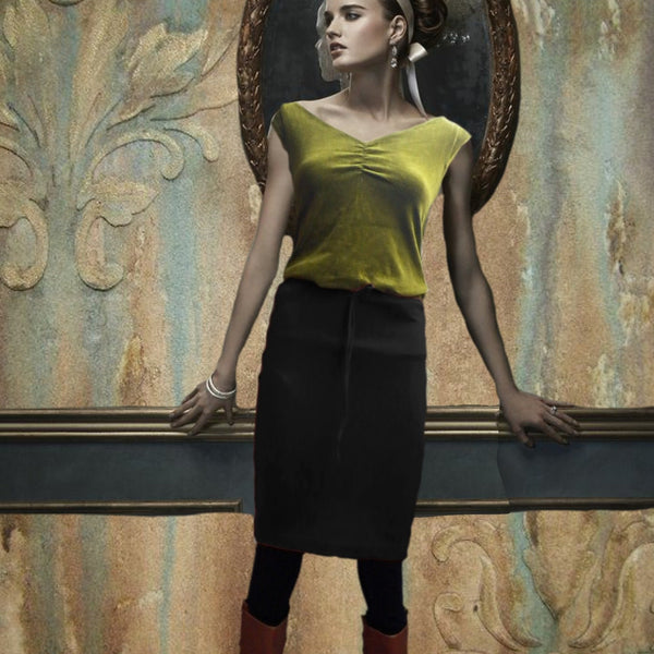 velours rokje / velvet pencil skirt