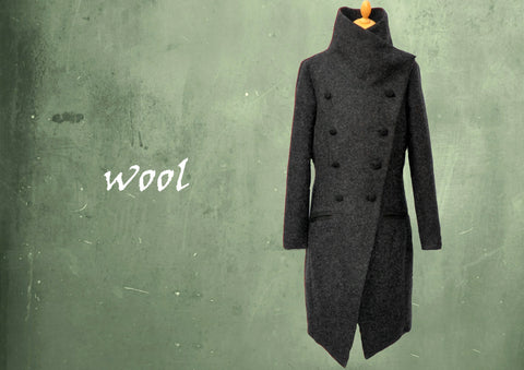 Stijlvolle lange wollen winter jas / Stylisch long wool winter coat