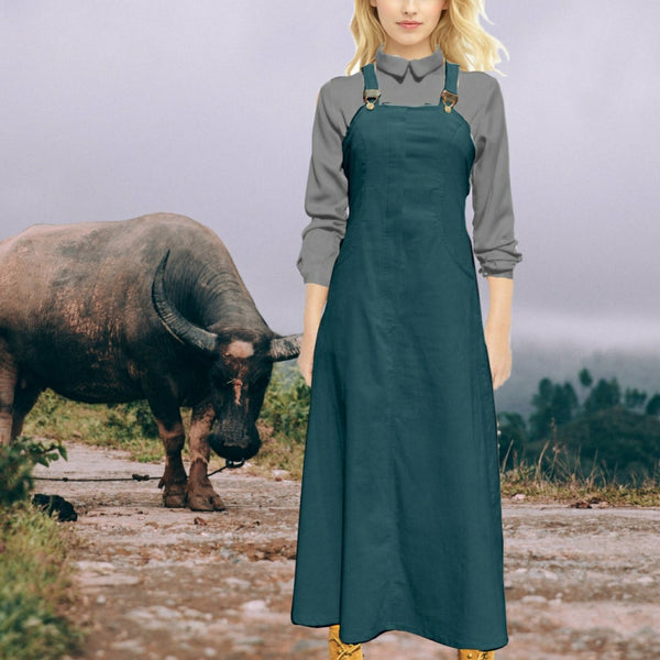 Maxi overgooier in katoenen ribcord/ Corduroy maxi pinafore dress