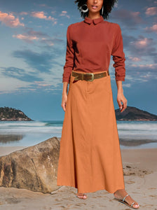maxi skirt in corduroy