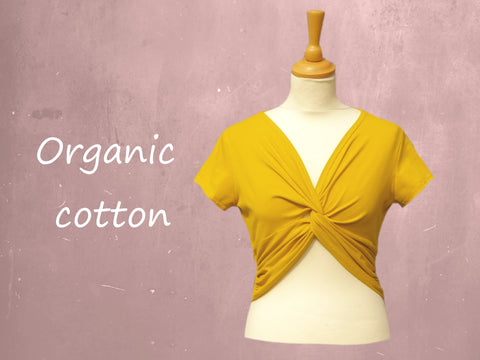 cropped shirt organische katoen / organic cotton cropped knot shirt