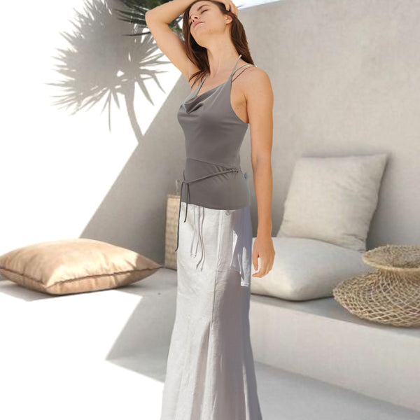 hemdje met drape hals  / camisole with draped neck