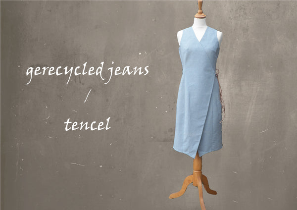 Overslag jurk van recyceld denim/tencel    / Wrapp dress recyceld denim/tencel