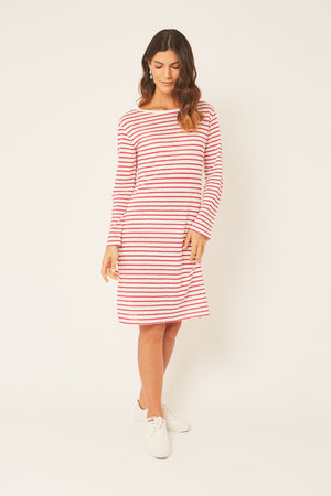 Red And White Striped 100% Linen Dress Boat Neck