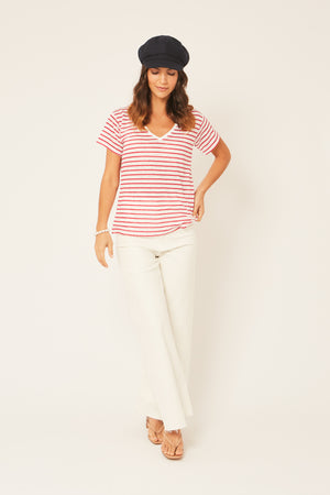 Red and White Striped 100% Linen T-Shirt - Nautical Style V-Neck