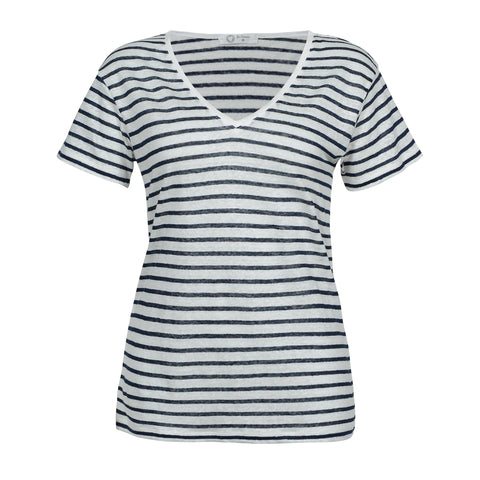Blue and White 100% Linen T-Shirt - Nautical Style