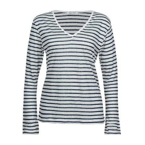 Navy and White Linen Long Sleeve Top - 100% Linen Women's Striped Top