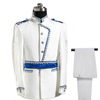Europe Army Style Stand Collar White Blue Wedding For Men DJ Stage Singer Men Suits