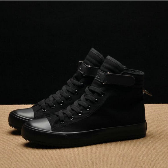 2018 Fashion New Men Light Breathable Canvas Casual All Black white  Red High top Solid Color Sneakers Shoes flats HH-90