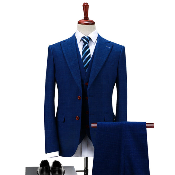 Men Navy Blue Tuxedo Suit Fashion Slim Fit Three Piece Groom Wedding Suit S-4XL