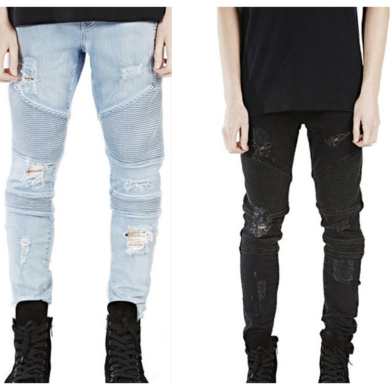 Men Biker Jeans Pants Fashion Hole Hip Hop Denim Stretch Jeans US Size - Bara Jan Store