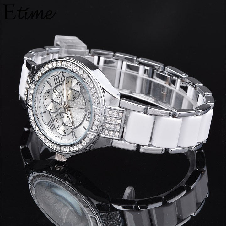 Quartz Watch Women Round Bracelet Watch Ladies Stainless Steel Fashion Gold Silver Designer Style Crystal - Bara Jan Store