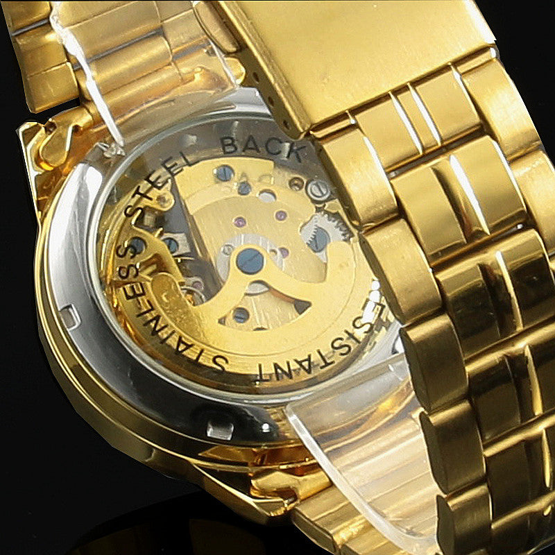 Winner Gold Watches Luxury Brand Men's Fashion Automatic Hollow Out Man Mechanical Watches Waches relogio masculino - Bara Jan Store