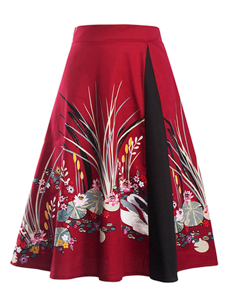 Vintage Style Skirt Women Retro Swing Flare Floral Skirts Chinese Style Printed Elegant High Waist Midi Dress
