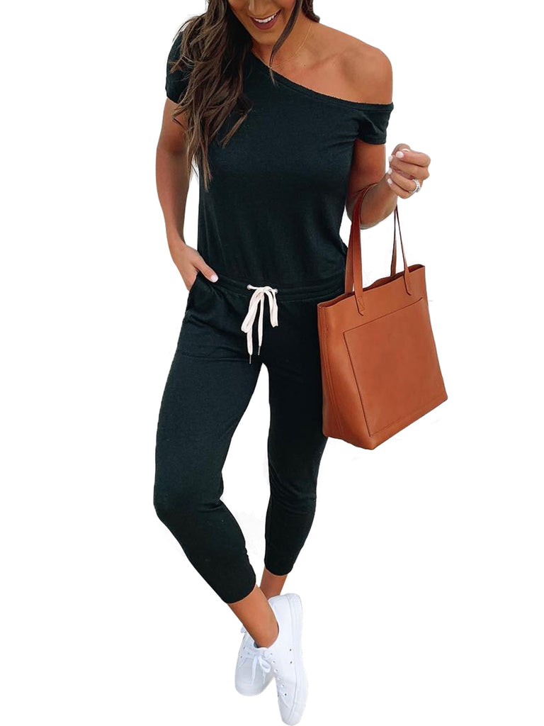 Women Off Shoulder Elastic Waist Beam Foot Jumpsuit Rompers Summer Casual Short Sleeve Loose Playsuit Pants with Pockets