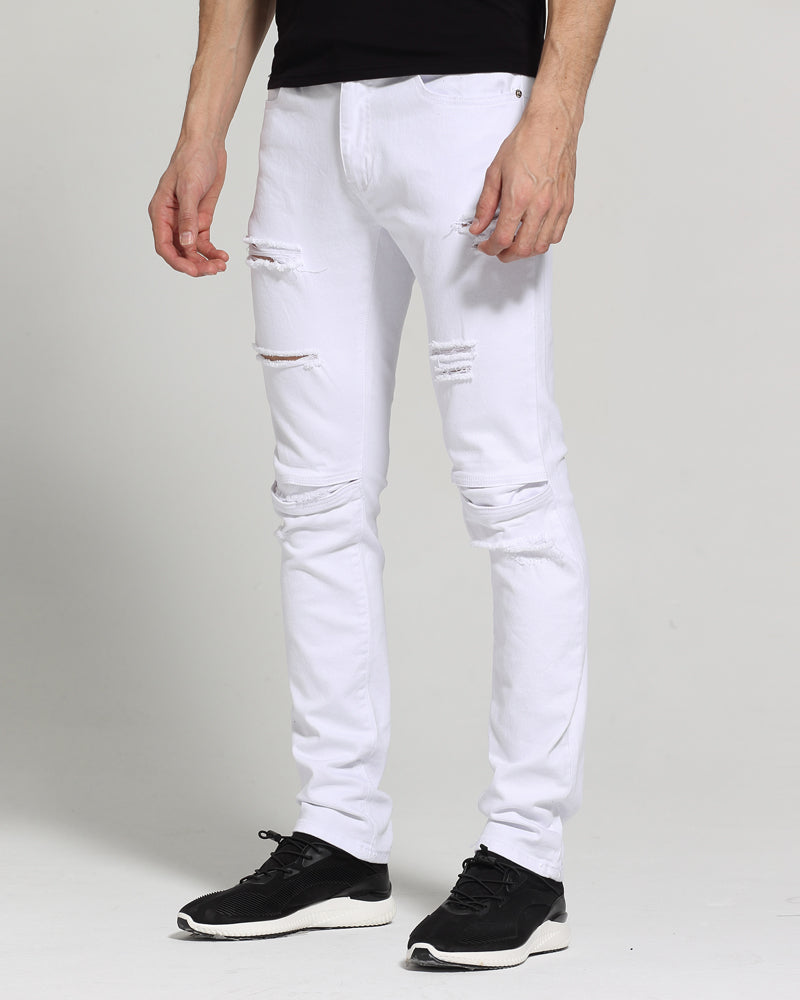 Men White Jeans Fashion Design Slim Fit Casual Skinny Ripped Jeans For Men H1704 - Bara Jan Store