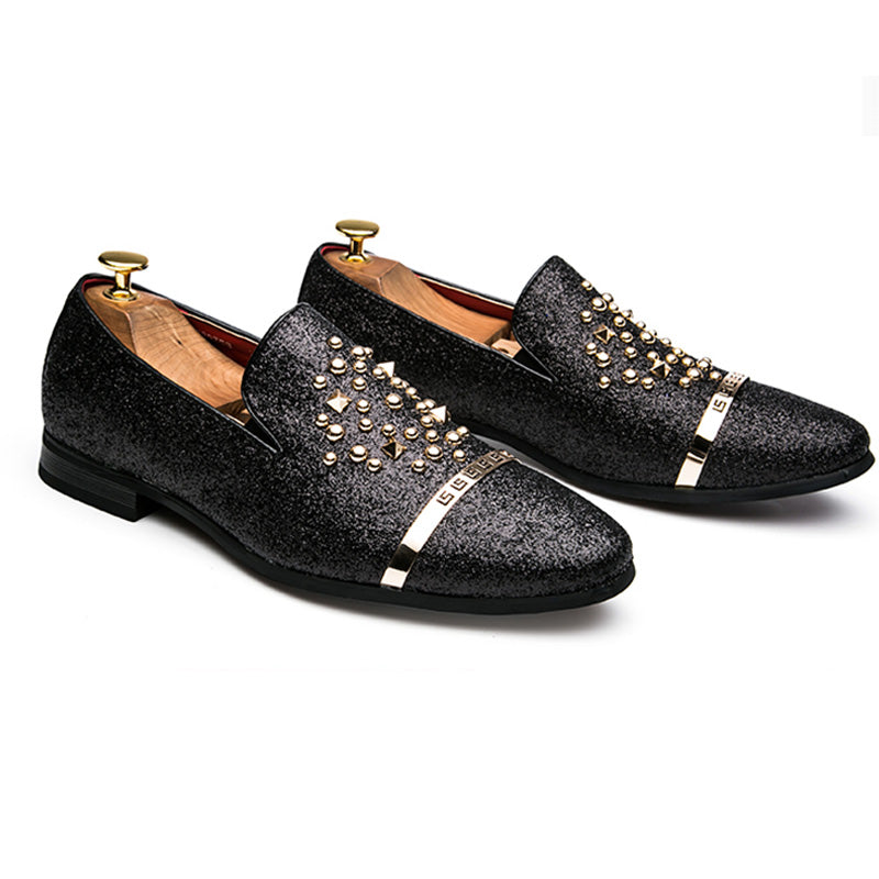 193683aaaf281 AGSan Luxury Brand Men loafers Silver Black Diamond Rhinestones Spiked  Loafers Rivets shoes Red Bottom Wedding