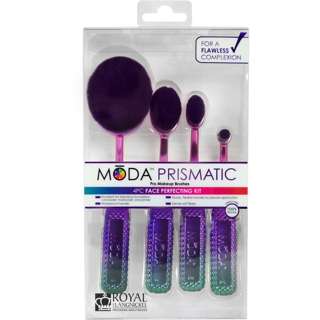 MODA Prismatic Face Perfecting Makeup Blending Brushes with Handles Kit (4 Count)