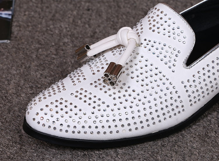 Bling Rhinestone Leather Dress Shoes Italian shoes men leather Flat Loafers White Crystal Bling Slip On Zapatos Hombre