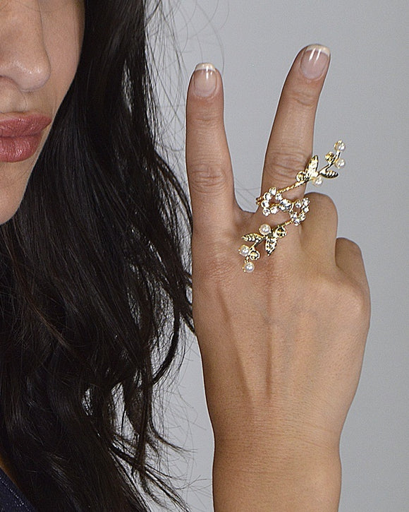 Stone Studded and Faux Pearl Ring - Bara Jan Store