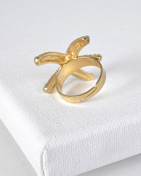 Rhinestone Studded Star Fish Shaped Ring - Bara Jan Store